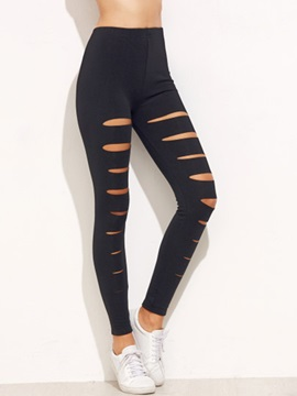 Slim Hole Patchwork Leggings