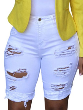 High-Waist Skinny Hole Patchwork Shorts