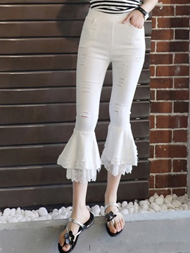 High-Waist Elastics Hole Lace Bellbottoms Casual Pants