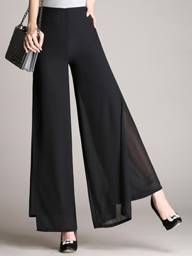 High-Waist Chiffon Asymmetric Wide Legs Casual Pants