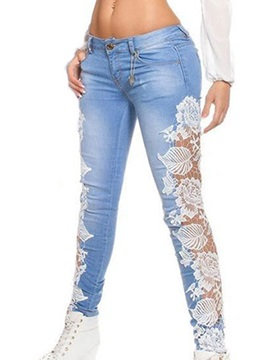 Skinny Lace Hollow Patchwork Jeans