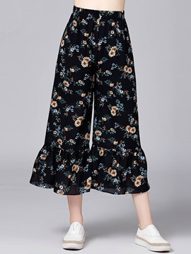 Chiffon Floral Falbala Pleated Wide Legs Casual Pants