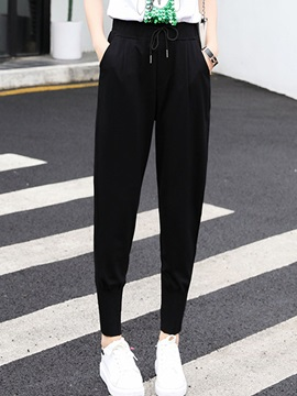 High-Waist Cotton Lace-Up Loose Casual Pants