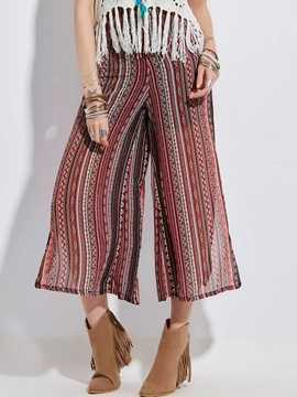 Geometric Pattern Wide Legs Women's Pants