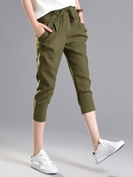 Linen Lace-Up Loose Mid-Calf Casual Pants