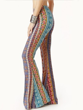 Print Slim Full Length Bellbottoms Casual Pants