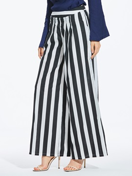 Stripe Color Block Slim Wide Legs Pants