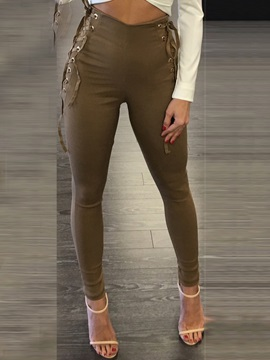 High-Waist Zipper Lace-Up Leggings