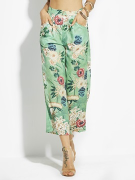 Loose Flower Print Wide Legs Women's Cropped Pants