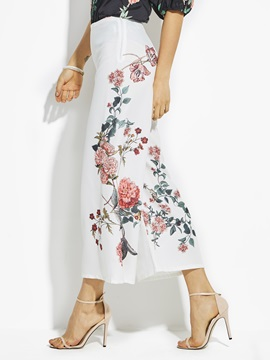 High Waist Flower Print Wide Legs Women's Pants