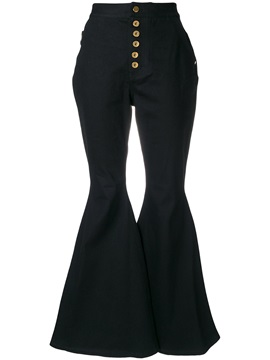 Slim High-Waist Bellbottoms Button Jeans