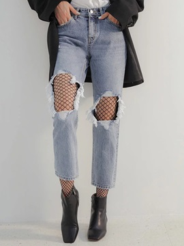 High-Waist Loose Straight Washable Ripped Jeans