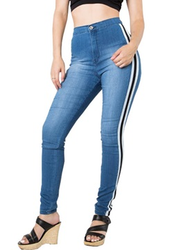 High-Waist Skinny Side Stripe Jeans