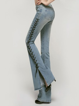 Slim Lace-Up Mid-Waist Bell Bottom Women's Jeans