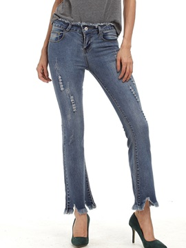 Mid-Waist Bell Bottoms Slim Women's Jeans