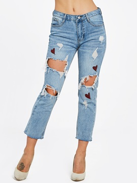 Slim Hole Ankle Length Women's Jeans