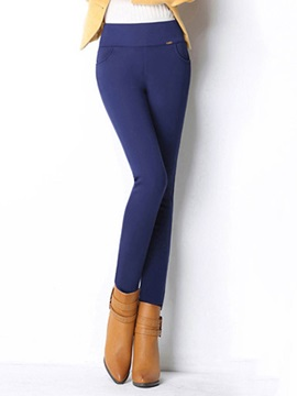 High-Waist Slim Plain Thick Stretchy Women's Warm Leggings