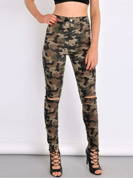 High-Waist Slim Camouflage Ripped Jeans
