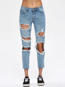 Plain Denim Slim Women's Ripped Jeans