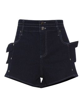 Slim High-Waist Plain Wide Legs Women's Shorts
