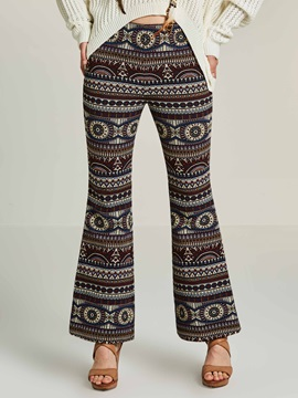 Geometric Print Bell Bottom Women's Pants