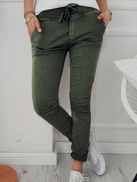 Skinny Plain Lace-Up Worn Women's Pants