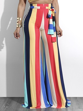Stripe Color Block Women's Casual Pants