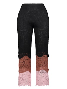 Color Block Hollow Lace Women's Casual Pants