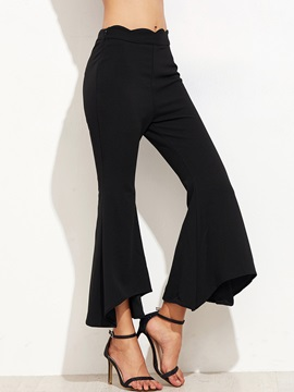 Ankle Length Wave Cut Women's Casual Pants