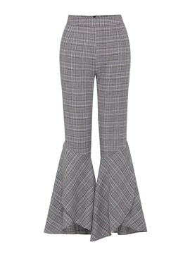 Gingham Print Zipper Bellbottom Women's Casual Pants