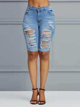 Hole Worn Knee Length Plain Women's Jeans