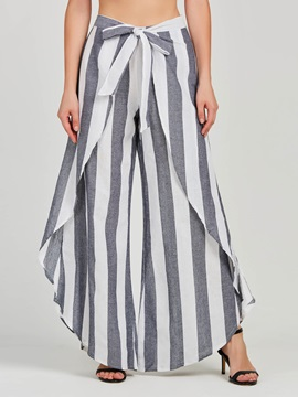 Striped Falbala Wide Legs Women's Casual Pants