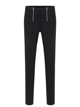 Plain High Waist Zip Up Women's Leggings
