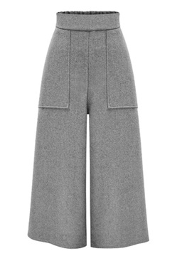 Winter Wide Legs Wool Blends Women's Pants