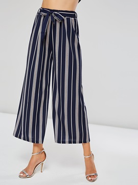 Loose Wide Lges Lace-Up Women's Stripe Cropped Pants