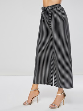 Stripe Wide Legs Lace-Up Women's Casual Pants
