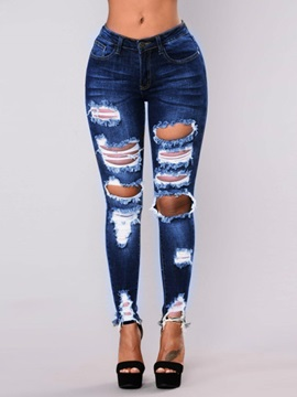 Hole Ripped Worn Skinny Women's Jeans