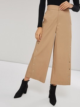 Plain Elastic Wasit Wide Legs Women's Casual Pants