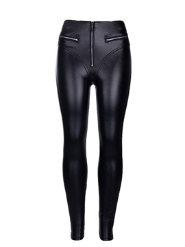 PU Skinny Zip Sexy Women's Casual Pants