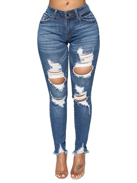 Hole Worn Slim Stylish Women's Jeans