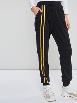 Casual Drawstring Stripe Color Block Women's Harem Pants