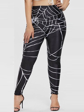 Plus Size Spider Silk Print Casual Thin Women's Leggings