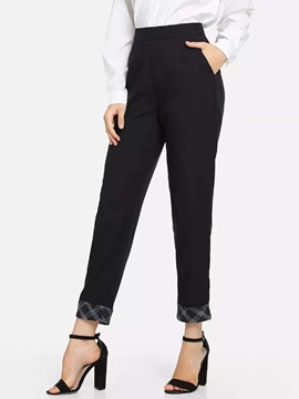Patchwork Slim High Waist Women's Casual Pants