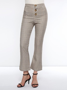 Plaid Loose Button High Waist Women's Casual Pants