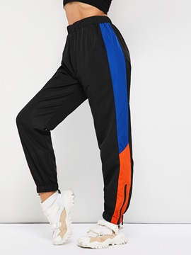 Color Block Loose Elastics Women's Harem Pants