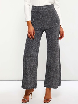 Plain Sequins Loose Straight Full Length Women's Casual Pants