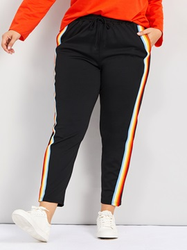 Plus Size Side Stripe Print Slim Women's Casual Pants
