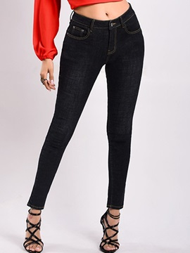 Plain Button Pencil Pants Skinny Mid Waist Women's Jeans