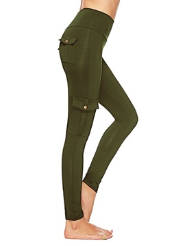 Thin Stretchy England Plain Mid-Waist Women's Leggings
