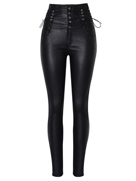 Plain Slim Lace-Up High Waist PU Women's Casual Pants